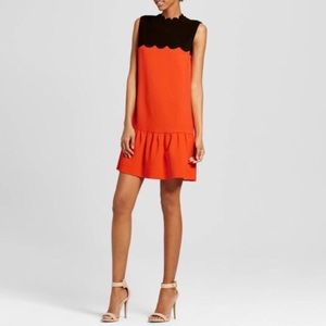 Victoria Beckham Drop Waist Scalloped Collar Dress